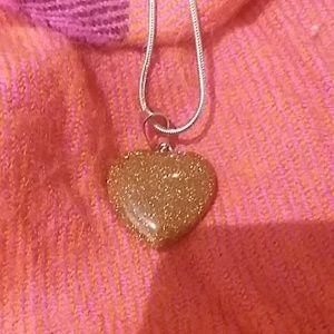 Jewelry - 💞Mini Gold Sandstone Chakra Heart Silver Necklace